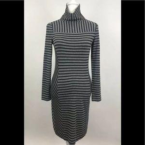 Tory Burch Mock Neck Dress Long Sleeve Gray Blk XS